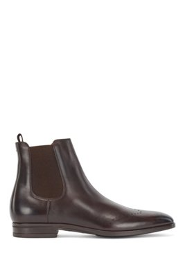 Chelsea boots in burnished leather with lasered details, Dark Brown