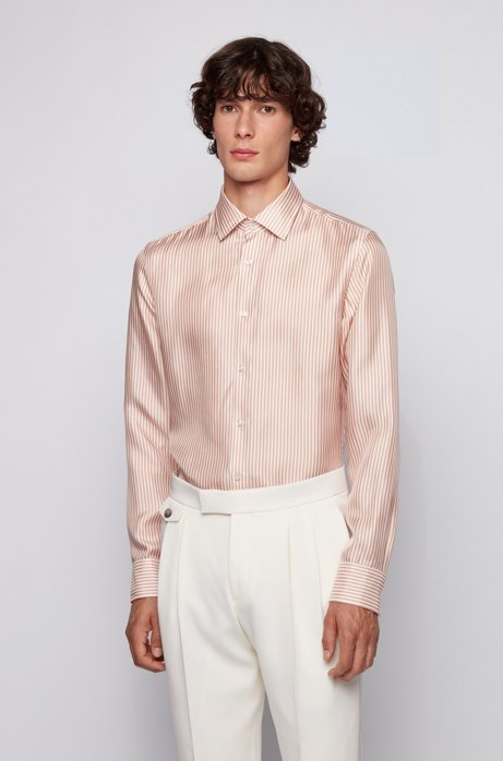 Slim-fit shirt in stripe-print silk twill, light pink