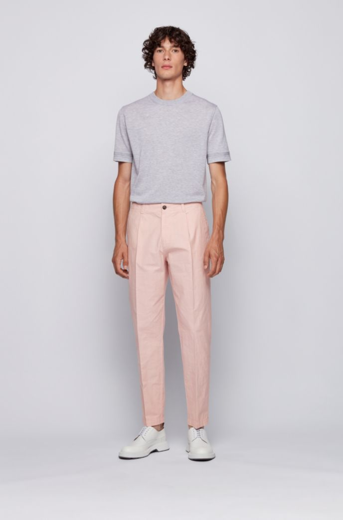 Relaxed-fit pants in garment-dyed stretch cotton