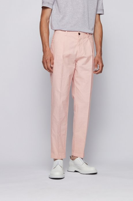 Relaxed-fit pants in garment-dyed stretch cotton, light pink