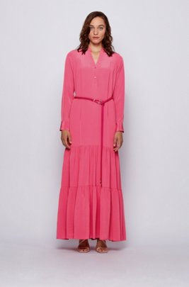 Maxi dress in silk georgette with hardware-trimmed belt, Pink