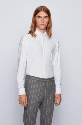 Slim-fit shirt in Italian performance-stretch fabric, White