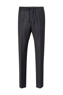 Extra-slim-fit pants in micro-patterned virgin wool, Dark Grey