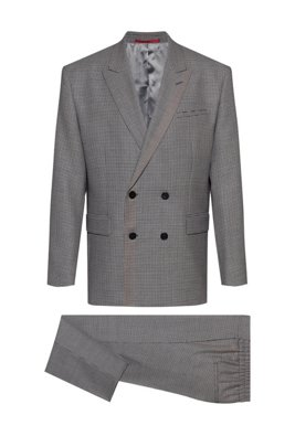 Double-breasted oversize-fit suit in checked virgin wool, Dark Grey