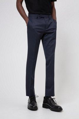 Extra-slim-fit pants in wool-blend twill, Dark Blue