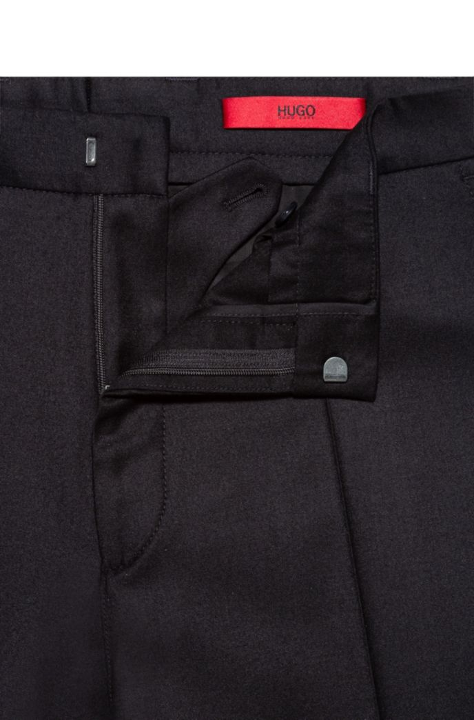 Tapered-fit pants in stretch wool with turnups
