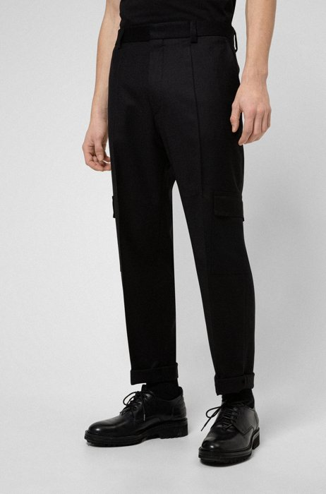 Tapered-fit pants in stretch wool with turnups, Black