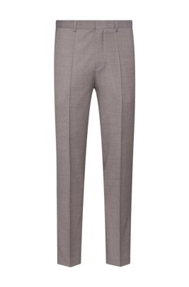 Slim-fit pants in micro-patterned virgin wool, Light Brown