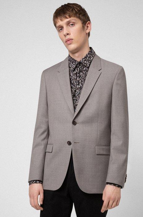Slim-fit jacket in patterned virgin wool, Light Brown