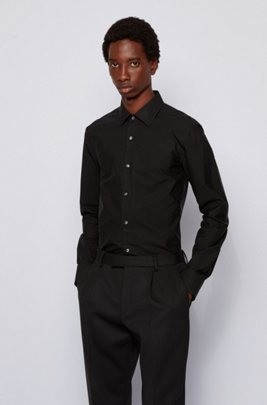 Italian-cotton slim-fit shirt with placket logos, Black