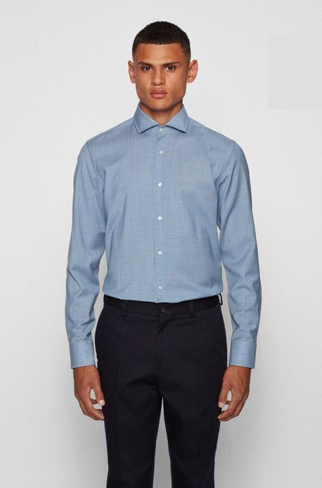 Slim-fit shirt in micro-patterned traceable virgin wool, Blue