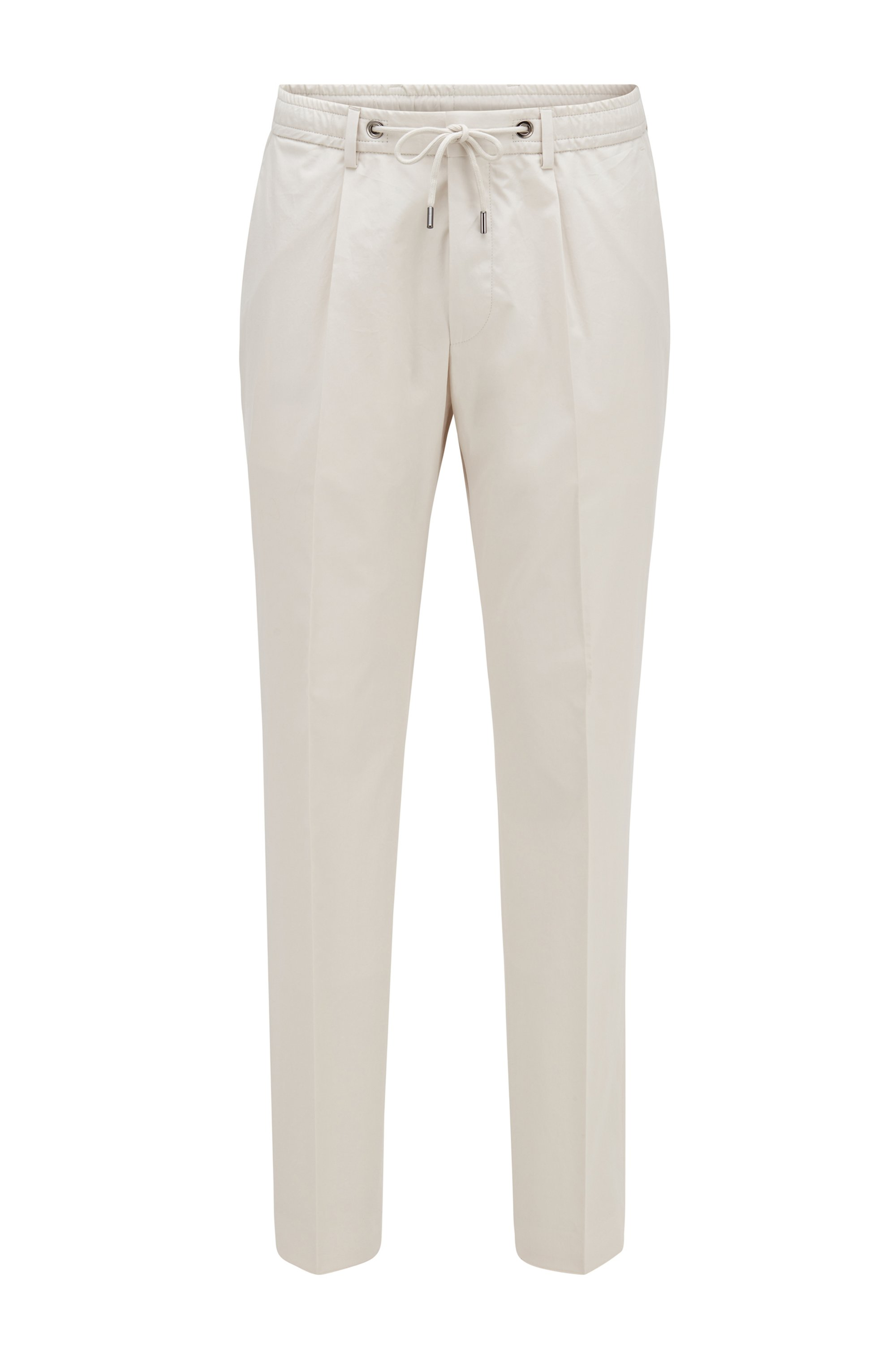 Slim-fit pants in cotton with drawstring waist, White