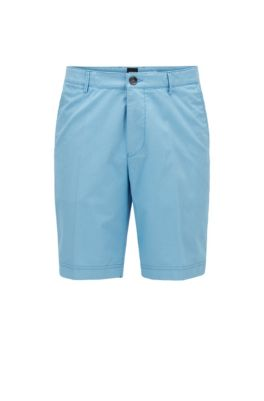 Slim-fit shorts in a cotton blend, Turquoise