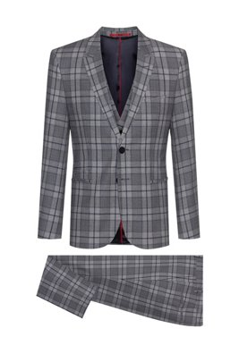 Extra-slim-fit three-piece suit in checked wool, Silver