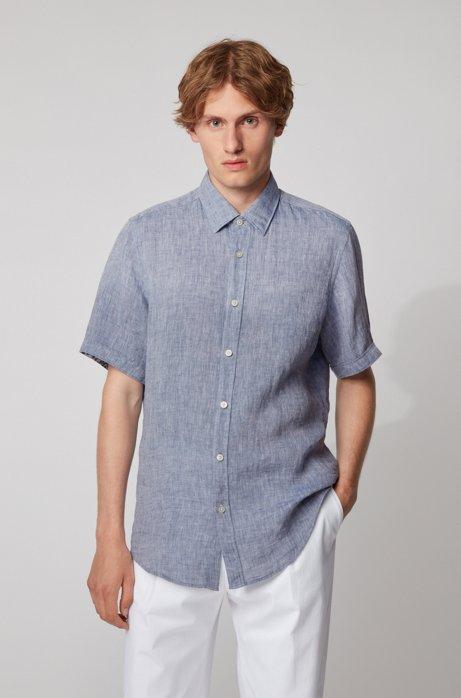 Regular-fit shirt in linen chambray, Dark Blue