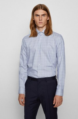 Regular-fit shirt in checked thermoregulating twill, Dark Blue