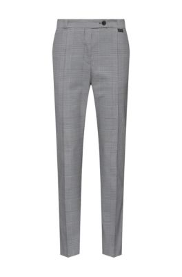 Regular-fit cropped pants in Glen-check stretch fabric, Light Blue