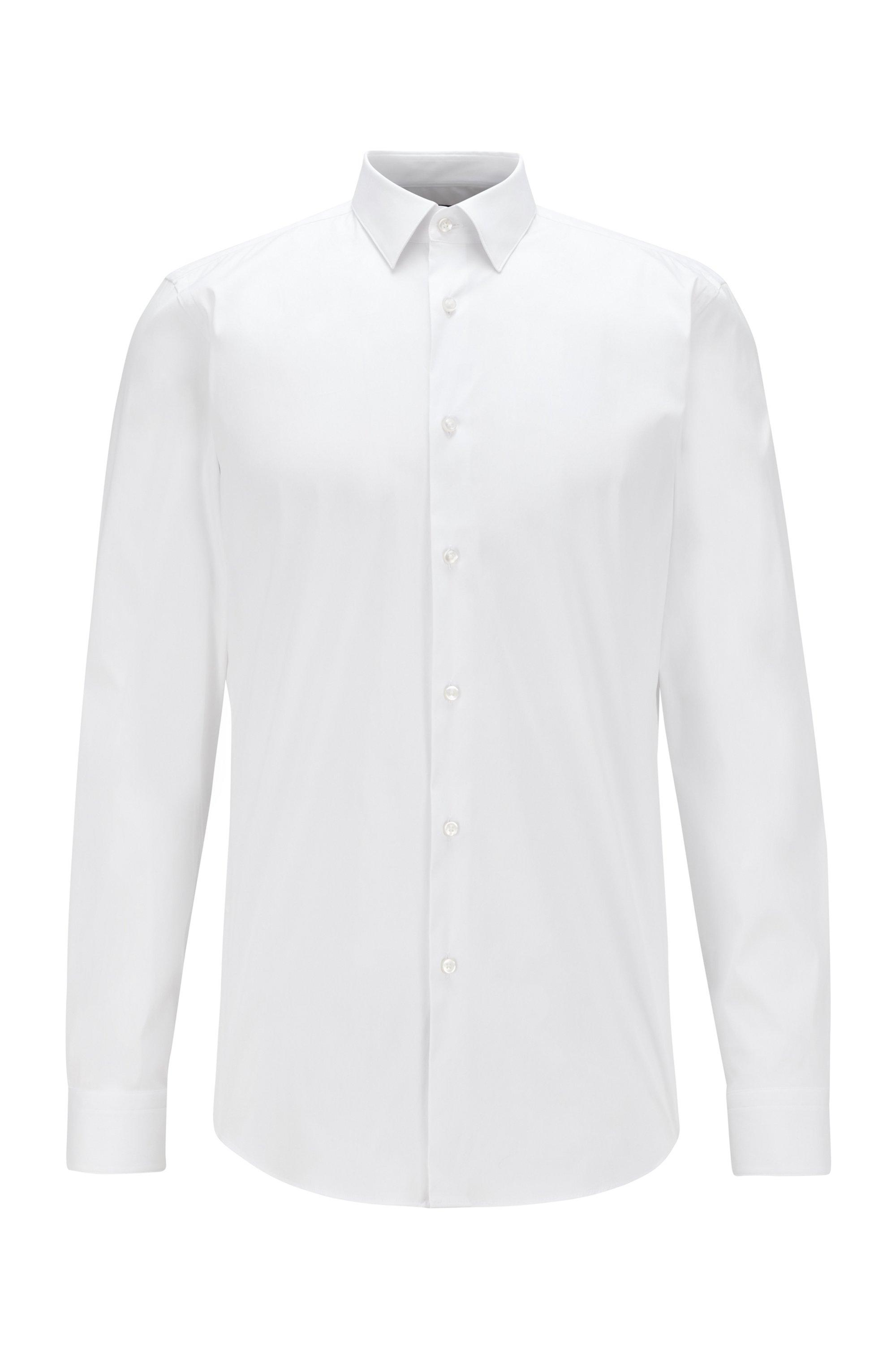 Slim-fit shirt in cotton-blend stretch poplin, White