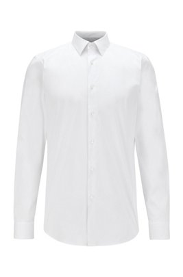 Slim-fit shirt in cotton-blend stretch poplin, White