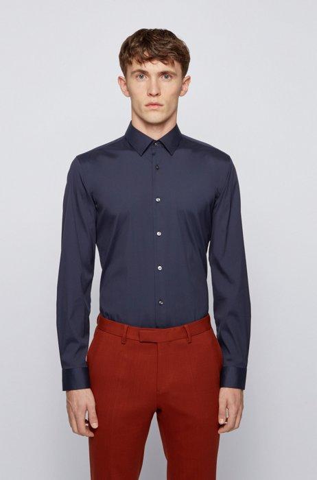 Slim-fit shirt in cotton-blend stretch poplin, Dark Blue