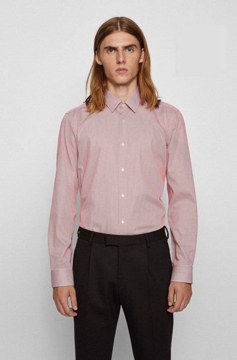 Regular-fit shirt in striped cotton with Pure Comfort finish, Light Orange