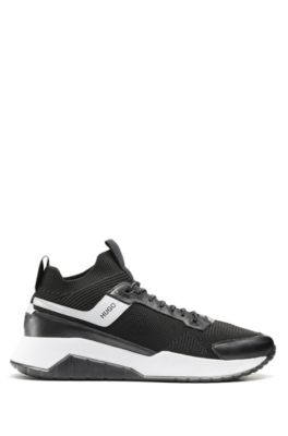 Sock trainers with knitted upper and leather details, Black