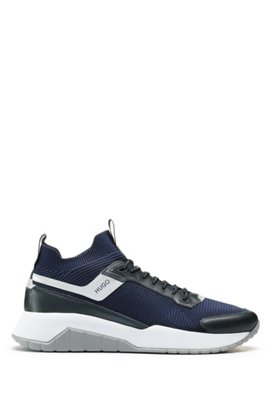 Sock trainers with knitted upper and leather details, Dark Blue