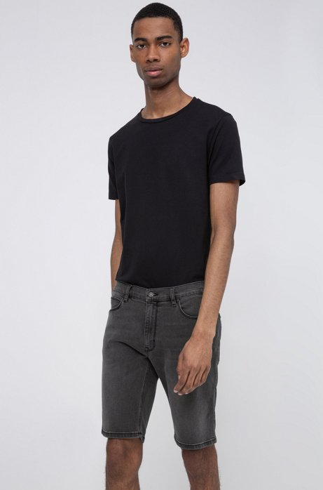 Slim-fit shorts in black-black stretch denim, Charcoal