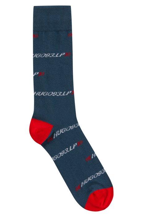 Cotton-blend socks with collection branding, Dark Blue