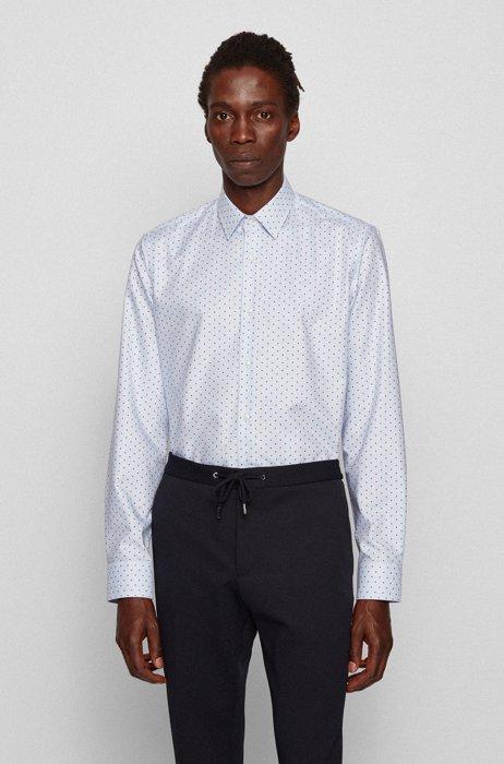 Regular-fit shirt in patterned aloe vera cotton, Light Orange