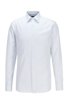 Slim-fit shirt in pinstripe cotton twill, Blue