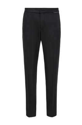 Slim-fit pants in stretch fabric with drawstring waist, Black