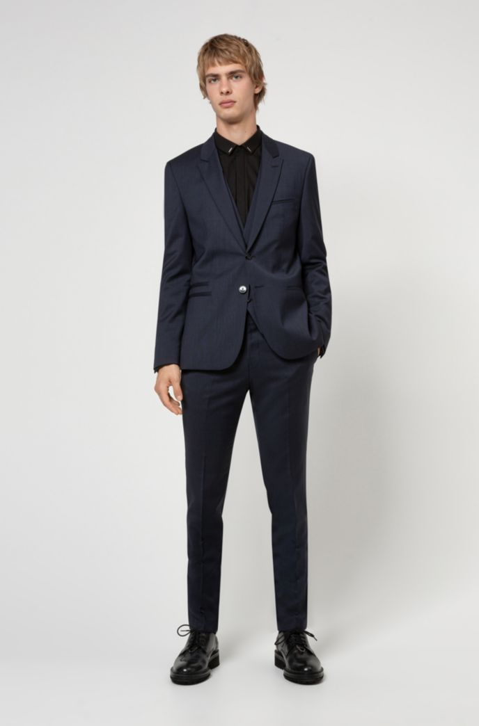 Extra-slim-fit three-piece suit in virgin wool