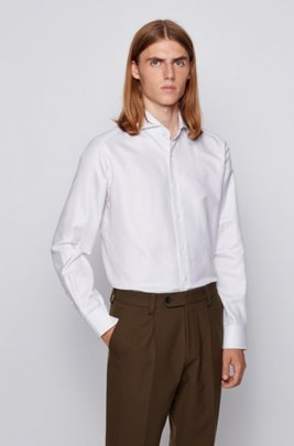 Regular-fit shirt in checked Italian cotton, White