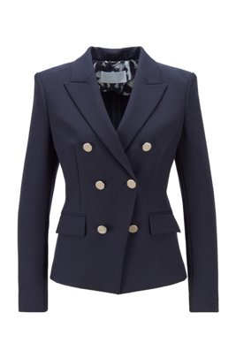 Double-breasted regular-fit jacket with peak lapels, Light Blue
