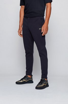 Cotton-blend jersey pants with collection-themed branding, Dark Blue