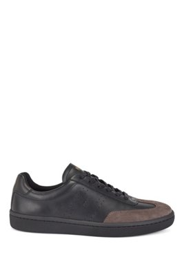 Tennis-style trainers in smooth leather with suede detailing, Black