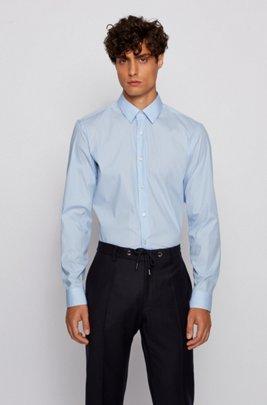 Slim-fit shirt in a stretch-cotton blend, Light Blue