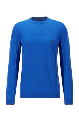 Cotton-blend sweater with contrast tipping, Blue