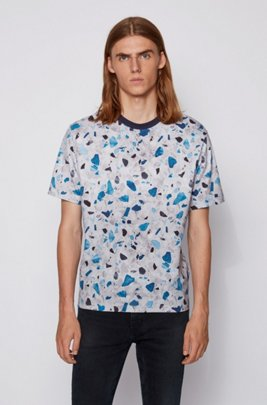Melange-cotton T-shirt with all-over print, Blue