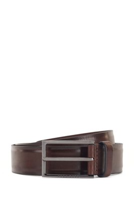Italian-made belt in tanned leather with border detail, Dark Brown
