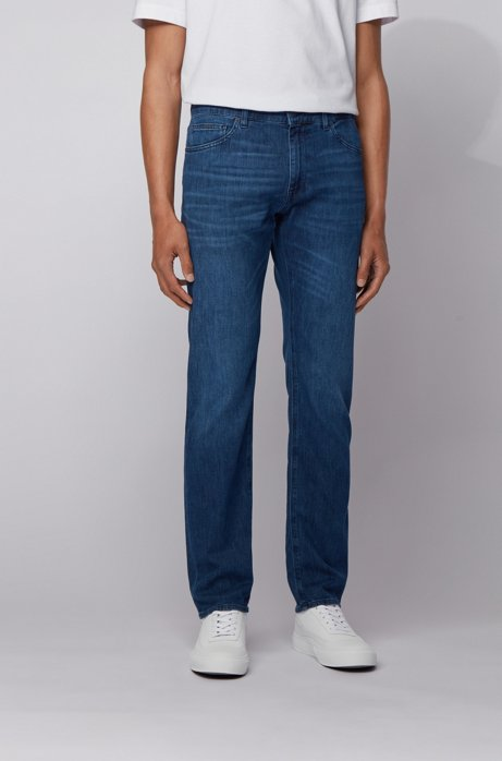 Regular-fit jeans in lightweight Italian stretch denim, Blue