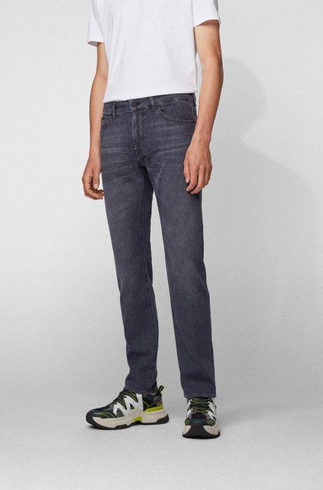 Regular-fit jeans in lightweight gray Italian denim, Dark Grey