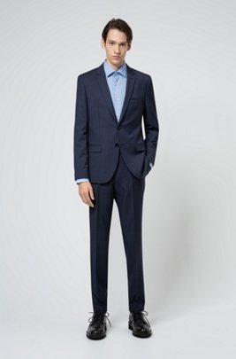 Extra-slim-fit virgin-wool suit with micro pattern, Dark Blue