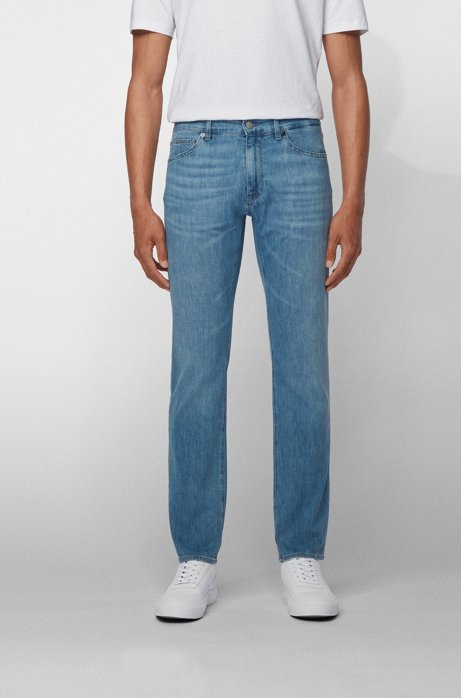 Regular-fit jeans in lightweight Italian denim, Turquoise