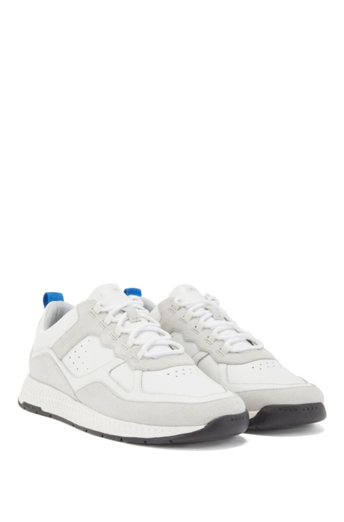 Running-style trainers in suede and tumbled leather