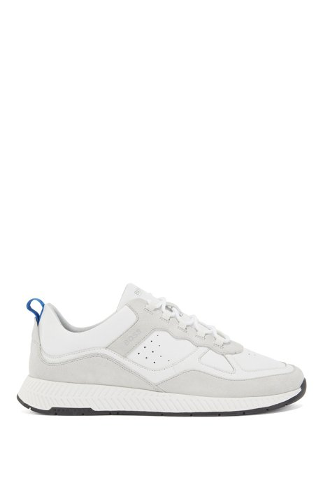 Running-style trainers in suede and tumbled leather, White