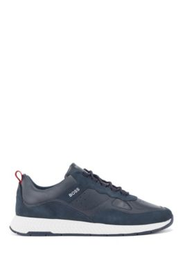 Running-style trainers in suede and tumbled leather, Dark Blue