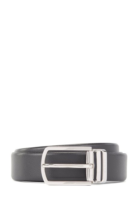 Reversible belt in Italian leather with quick-release buckle, Black
