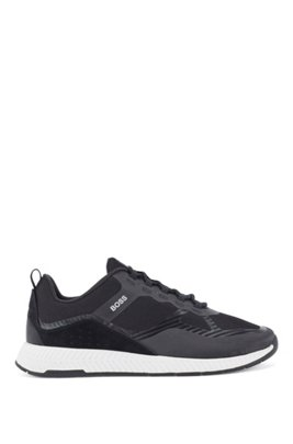 Hybrid trainers with suede overlays, Black